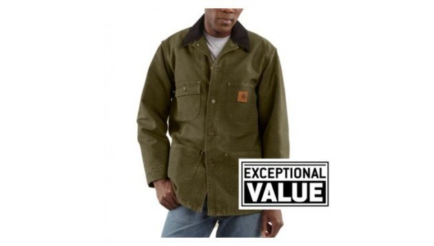 Carhartt Men's Sandstone Duck Chore Coat, Blanket-Lined